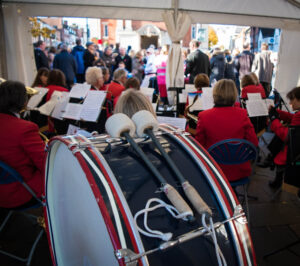 Image of a bass drum in front of WCB at Henley Service of Remembrance in 2018
